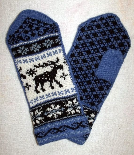 Norwegian Scandinavian  hand crafted 100% Wool Mittens, folk art, Reindeer, Selbu Rose, Fair Isle. $26.00, via Etsy.