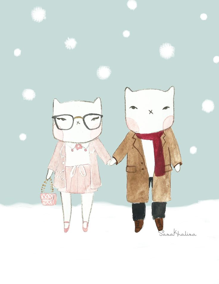 Sassy the Cat in the Snow | watercolor illustration by Sasa Khalisa