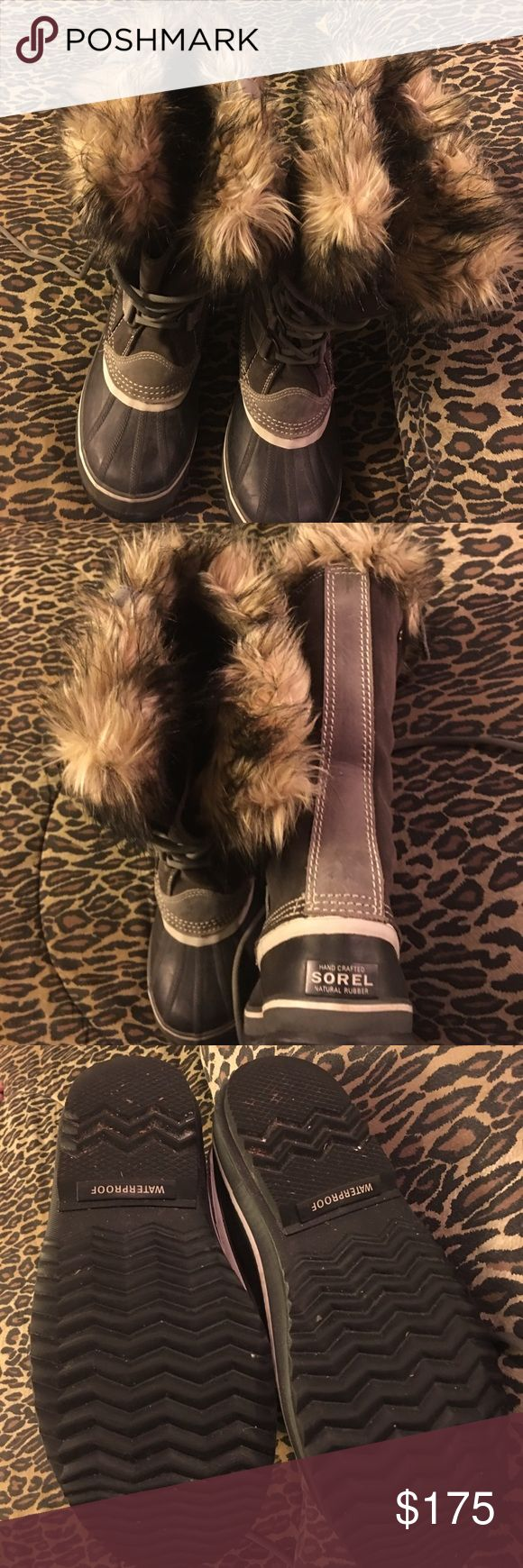 Hiking, cold weather Sorel boots Boot is ladies size 8, dark brown and grey in color with light fur liners. Cozy and comfy warm in extreme temps for sure. All 💦 Waterproof Sorel Shoes Winter & Rain Boots