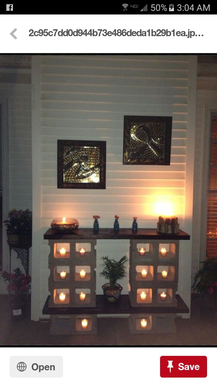 37 stenciled cinder block planter ideas and free 2017 from zola decor - Outdoor Table Made From Cinder Blocks And Stained Pine Wood Nice Ambience Using The Votive Candles Shelves Cinder Block Gave Me Decent Idea Place Small