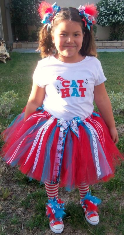 Dr Seuss Cat In The Hat Ribbon Tutu Outfit For Girls