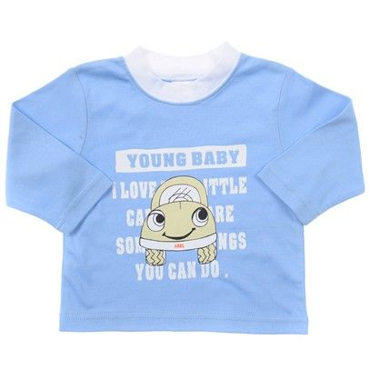 Light blue with white neck ribbing car print 'Young Baby'-BBLT003-LightBlue-White $7.00 on Ozsale.com.au