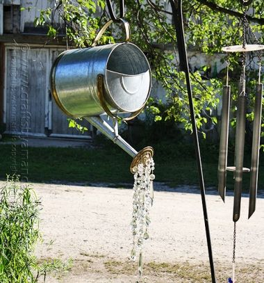 DIY Crystal pouring watering can - creative recycling // Vízkiöntő locsolókanna csillár kristályokkal - kerti dísz // Mindy - craft tutorial collection