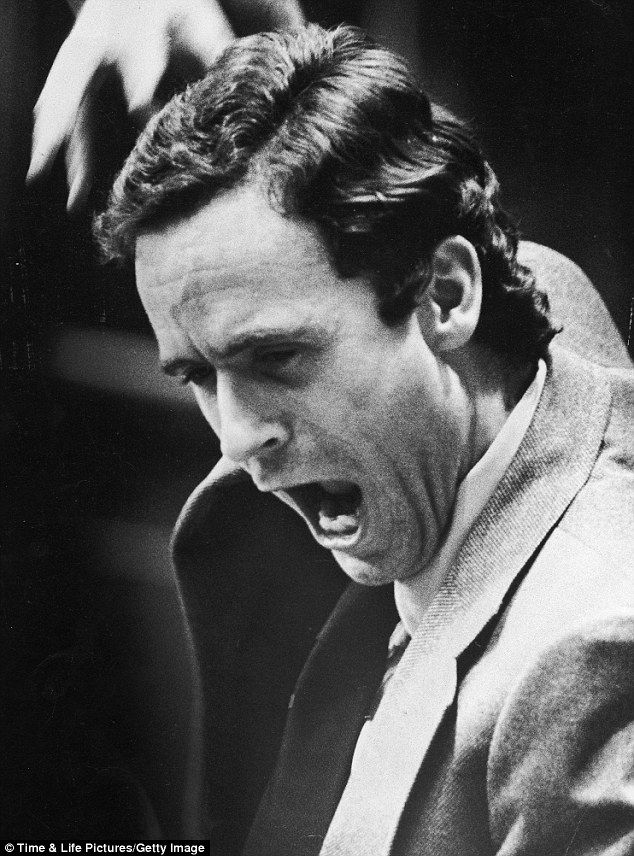 Chilling: Ted Bundy animated in a courtroom after the judge had departed. Bundy confessed