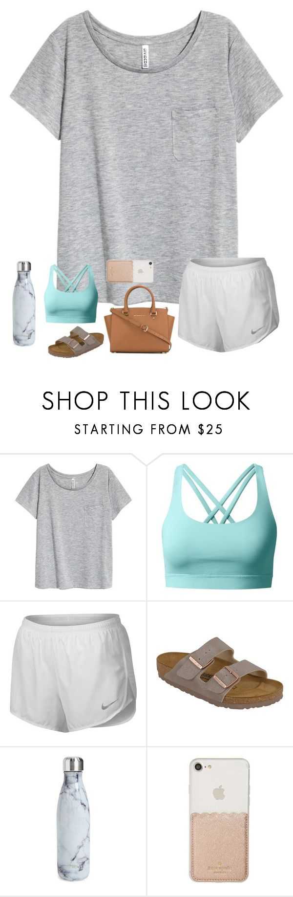 """wild thoughts"" by ashton7276 on Polyvore featuring lululemon, NIKE, Birkenstock, S'well, Kate Spade and MICHAEL Michael Kors"