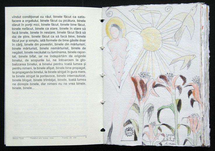 carte bibliofila 2. pagina de text tiparit (8) si ilustratie, desen, tus si acuarela