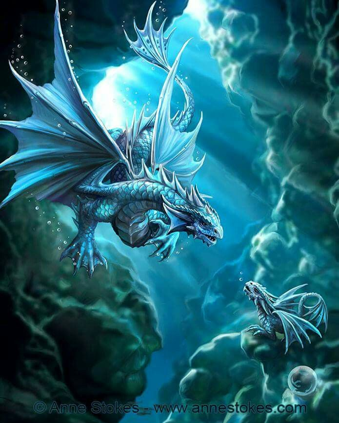 """Dragon Aqua""  Artwork by Anne Stokes                                                                                                                                                                                 More"