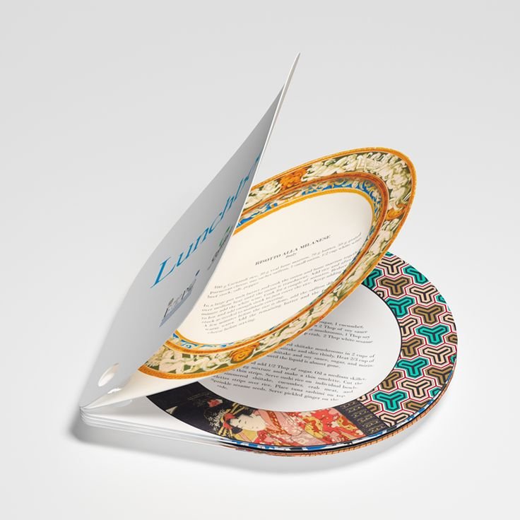 """Lunch Book. Recipes printed on perforated and coated """"plate"""" pages.  By alessandro garlandini + sebastiano ercoliSebastiano Ercoli, Lunches Book, Graphics Design, Creative Cookbooks, Milan 2015, Recipe Books, Paper Plates, Lunchbook, Alessandro Garlandini"""