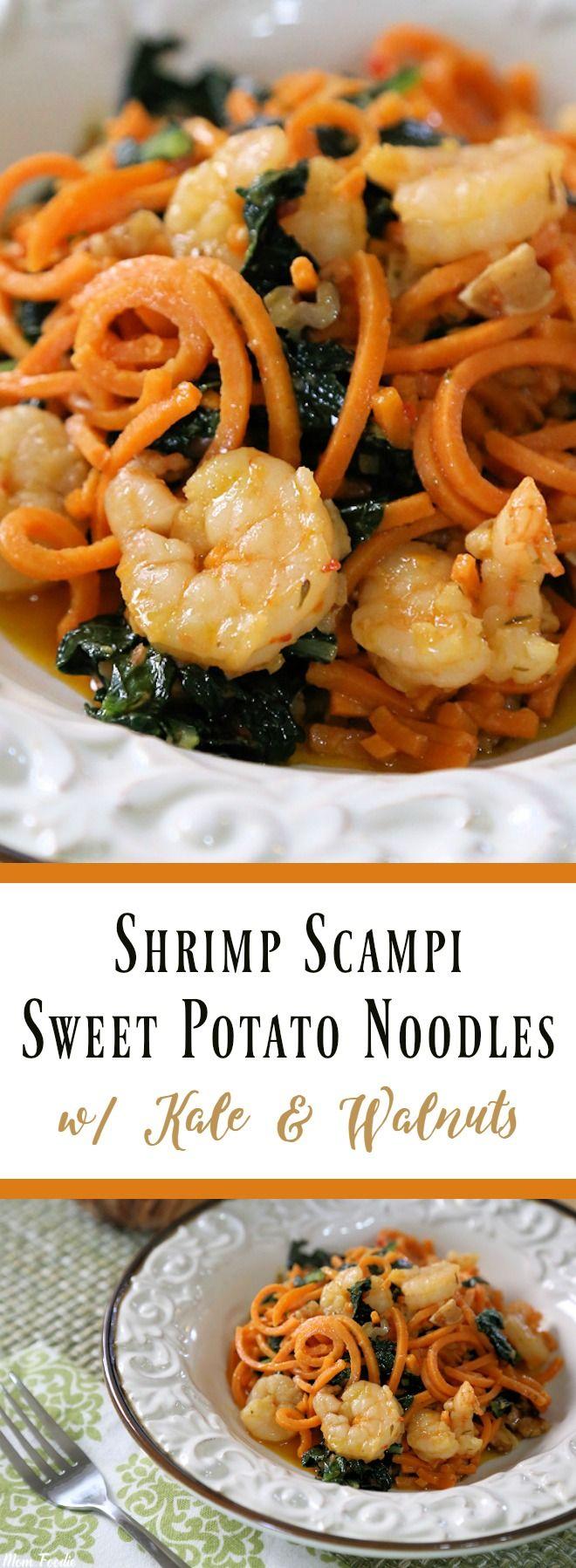 Shrimp Scampi Sweet Potato Noodles with Kale & Walnuts #ad