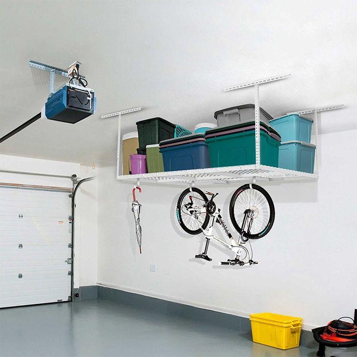 "Duty Overhead Garage Adjustable Ceiling Storage Rack, 72"" Length x 48"" Width x 40"" Height, White"