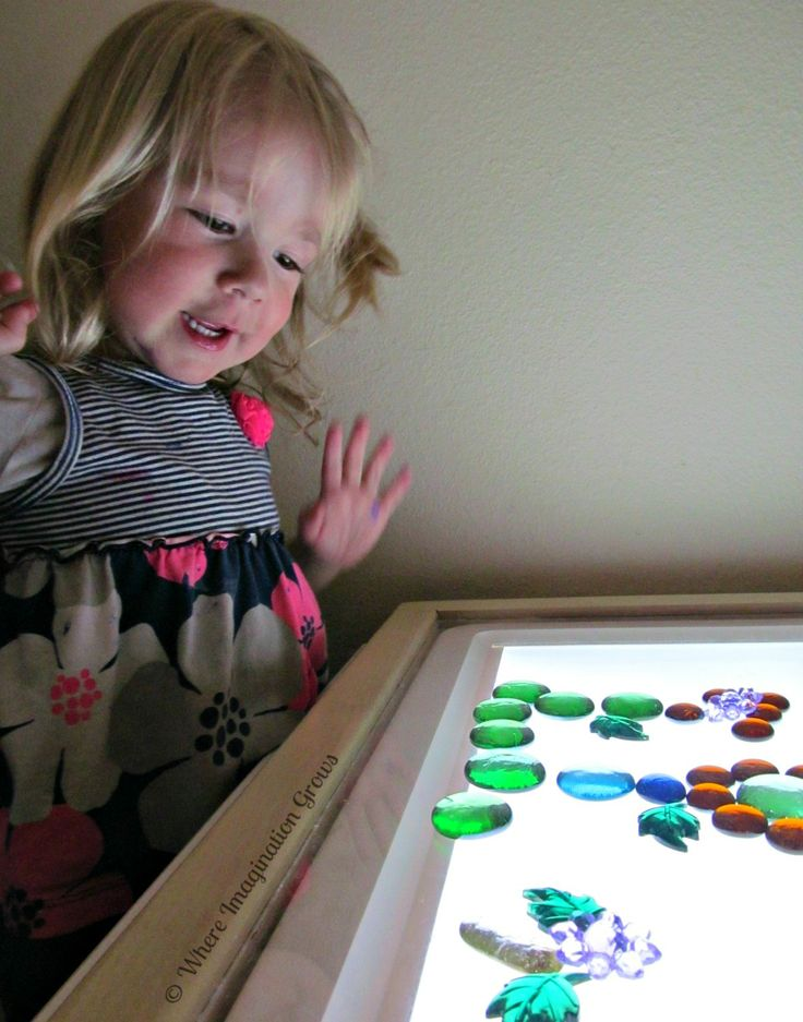 Nature collages from loose parts on the light table! A simple kids activity for preschoolers!