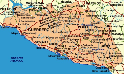 guerrero is a state located in south central mexico the capital city is chilpancingo acapulco is on the pacific coast in the southern part of the state