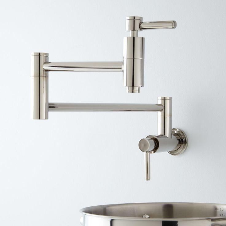 Contemporary Retractable Wall-Mount Pot Filler Faucet