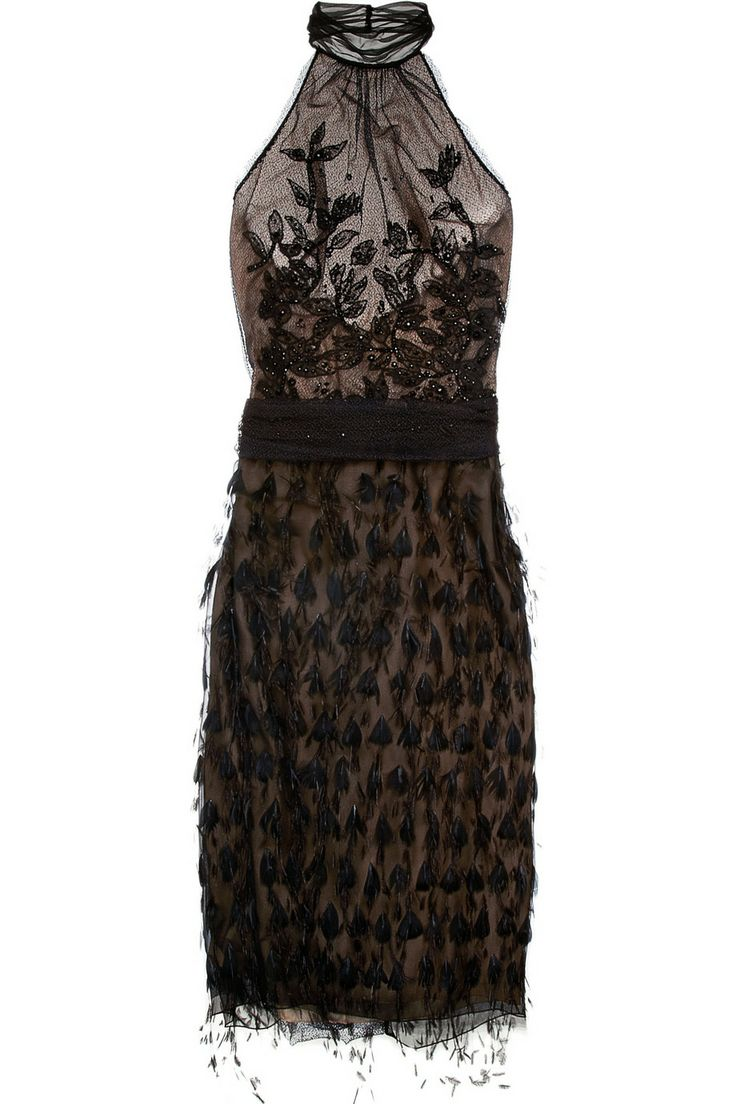 Alberta Ferretti|Feather and bead-embellished mesh dress|NET-A-PORTER.COM