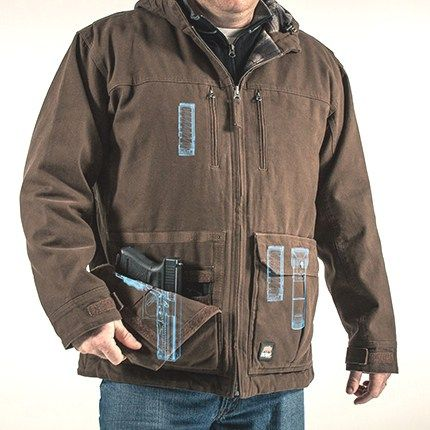 """BERNE Apparel has introduced its solution for concealed carry on the job site with the """"Echo One One"""" concealed-carry jacket. Photo: Blue August PR."""