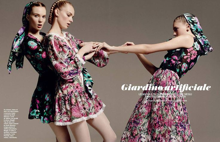 Best Editorials - Blugirl Spring Summer 2015 • On the left, chiffon floral printed dress with lace trims; on the right, pleated chiffon floral printed skirt. • D La Repubblica, Italy - March 7, 2015