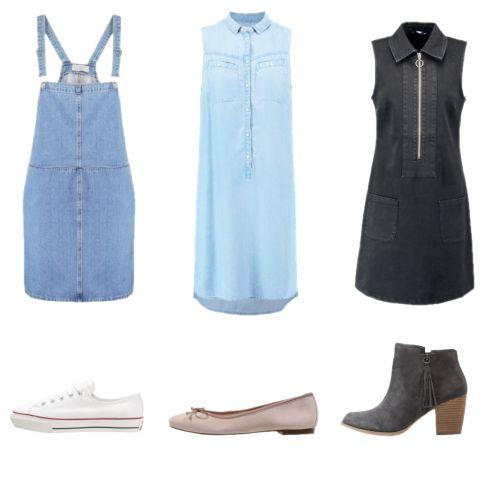 Jak zestawić jeansowe #sukienki? #naszelkach #minimalizm #denim #chambray #baleriny #conversy #kowbojki #nalato