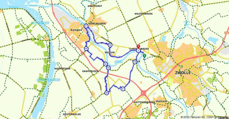 Zwolle (Overijssel, Nederland) | Fietsroute 213379 | 30,92 km | dijk | Fietsen in Zwolle en Kampen | http://www.route.nl/fietsroute/213379/dijk. Elke dag nieuwe routes!