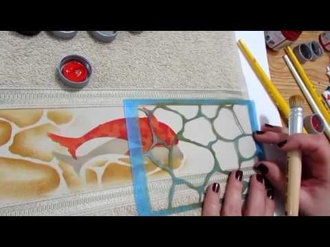 Dica Carpa e pedras com Stencil - YouTube