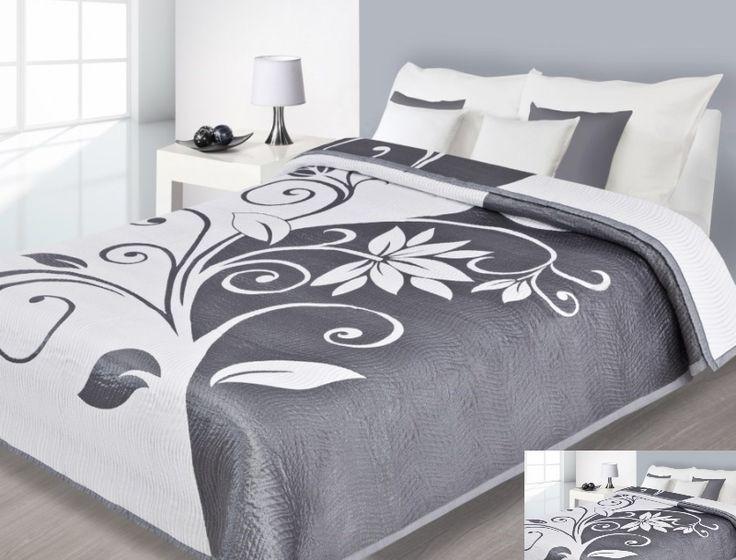 Elegancka narzuta dwustronna na łóżko w kolorze biała z szarym ornamentem