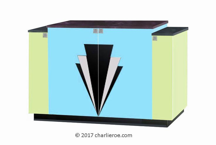 TDS - The Design Service - New Art Deco 4 door stepped sideboard with Deco design on doors & lacquered painted in Miami style pastel colours