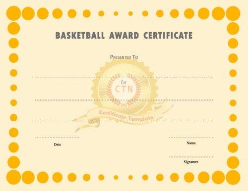 55 best Award Certificate Template images – Basketball Certificate Template