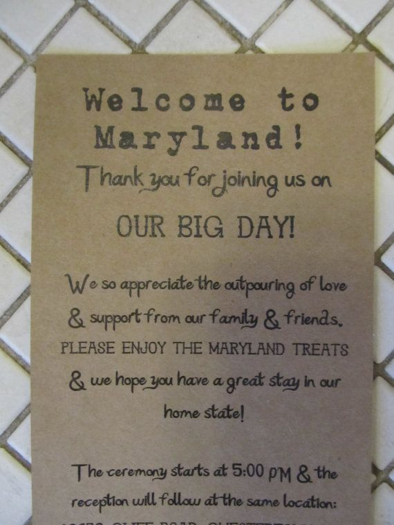 Welcome Note for Out of Town Wedding Guests by AlRoad on Etsy