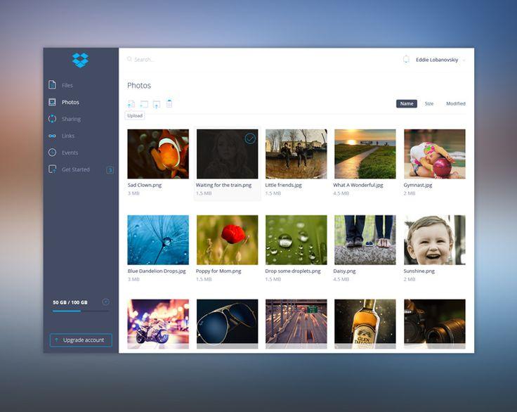 Redesigned Dropbox UI Kit Free PSD