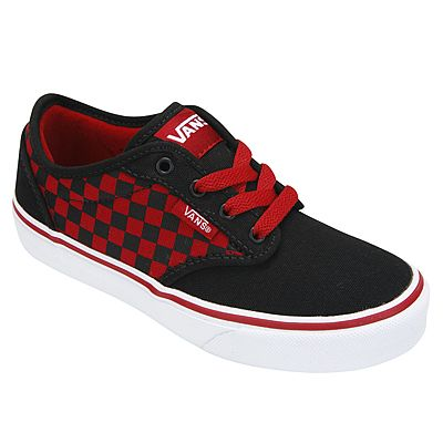 Edgy black and red VANS for boys #BackToSchool ATWOOD CHECKERB by VANS