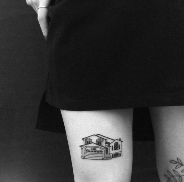 Modern House Tattoo by Yi Stropky
