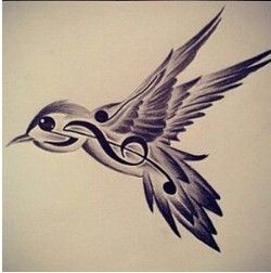 bird music note tattoo ~i am unbelievably upset that I didn't see this before I had my tattoo done:(