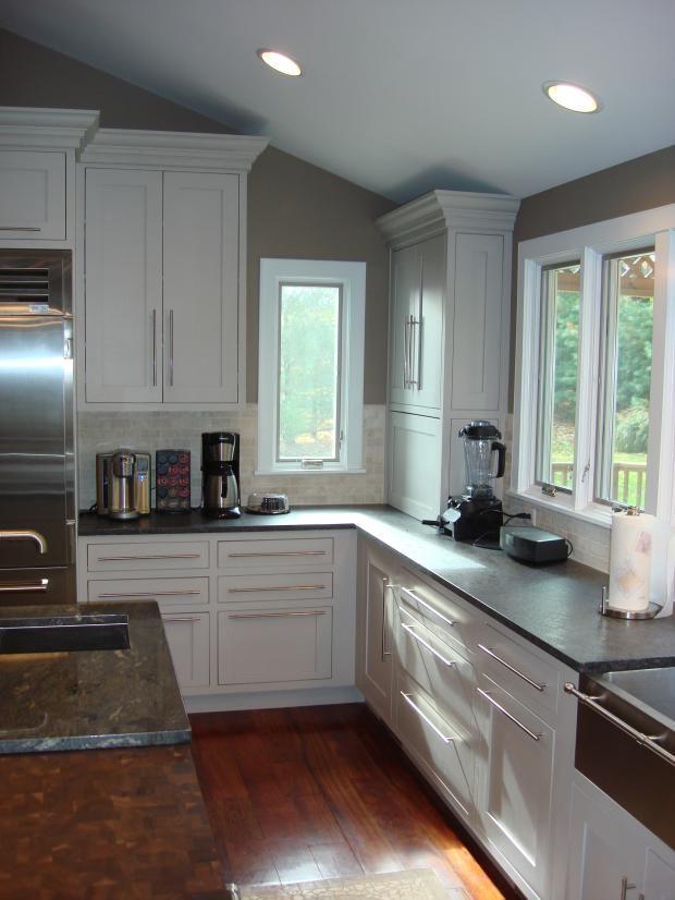 Transitional Kitchen - Sink Wood Long Horizontal Cabinet Handles