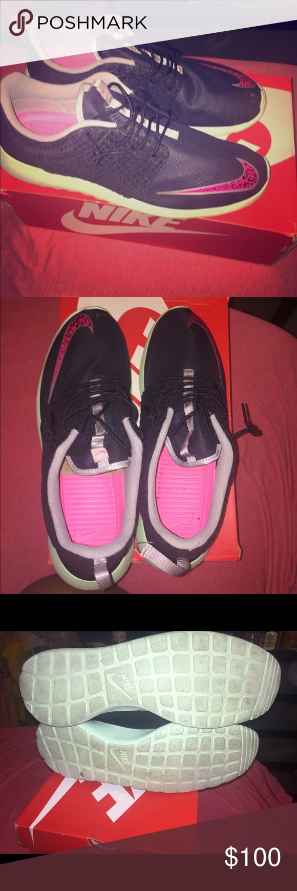 Yeezy Roshe Run Blk/Pink/mint men's yeezy Roshe run. EUC WORN TWICE. SIZE 15 comes with original box Nike Shoes Sneakers