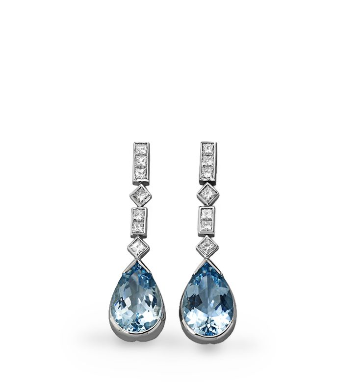 Pendientes France  Pendientes con tira de diamantes de diferentes tallas que recogen una aguamarina talla perilla