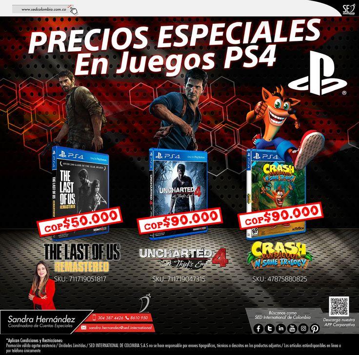 Precios Especiales en Juegos PS4: Contacta a tu gerente de producto para más información: Sandra Hernández   Celular: 304 387 4426   Email: sandra.hernandez@sed.international #SEDINTERNATIONAL #SEDCOLOMBIA