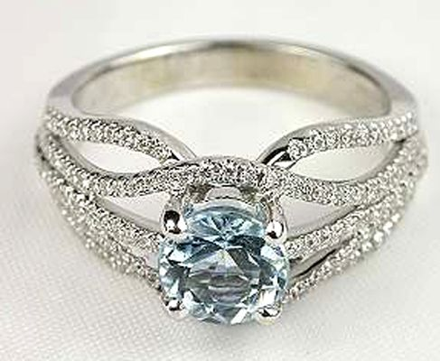 Unique Blue Diamond Engagement Ring and an amazing band