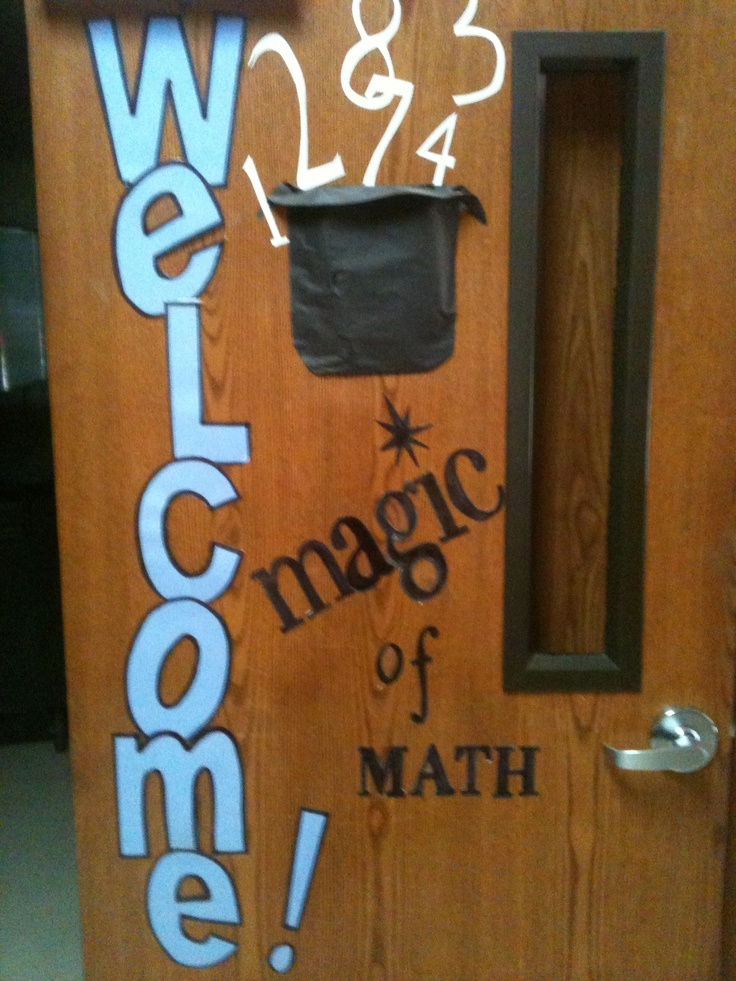 Classroom Decoration On Teachers Day ~ Welcome door magic of math pinterest