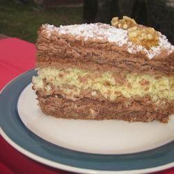 Tort orzechowy z masą czekoladową