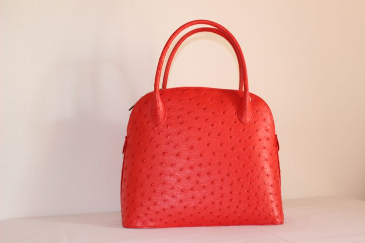 Olivia -  Noble Stone, Genuine African Ostrich Leather Handbag.