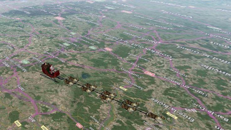 El mapa 3D que muestra el recorrido de Papá Noel país por país
