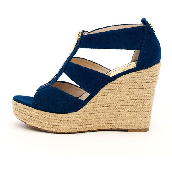 MICHAEL Michael Kors  Damita Canvas Wedge ($115) ❤ liked on Polyvore featuring shoes, heels, navy, famous footwear, michael michael kors shoes, wedges shoes, navy platform shoes and navy shoes