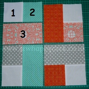 Woven Quilt Block Tutorial 2. Sew the pieces together in this order.