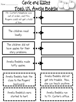 Amelia Bedelia... cause and effect... turn this worksheet into a THINKING MAP!!!
