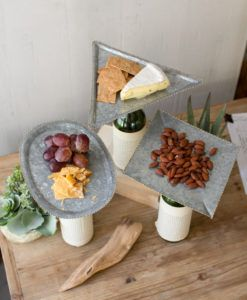 Bottle Topper Zinc Serving Trays With Brass Beaded Detail