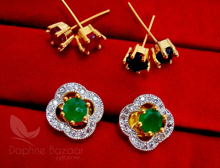Daphne Lovable SixInOne Changeable Zircon Earrings for Women - GREEN