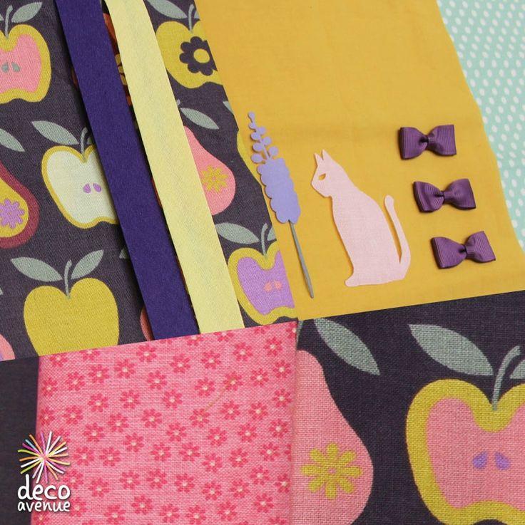 du tissu Rico design aux fruits, du biais, des petits thermocollants à appliqué au fer, des nœud froufrou, du tissu à fleurs Riley blake design... Chez Deco avenue