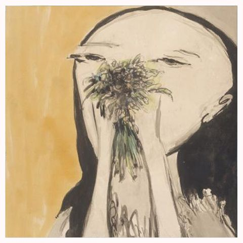 Joy Hester, Girl Holding Flowers, 1956.