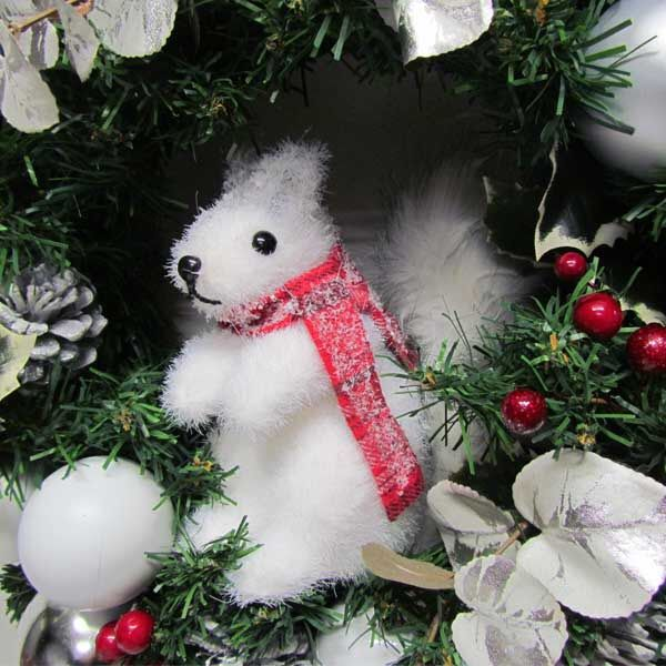 White squirrel wreath , detail.