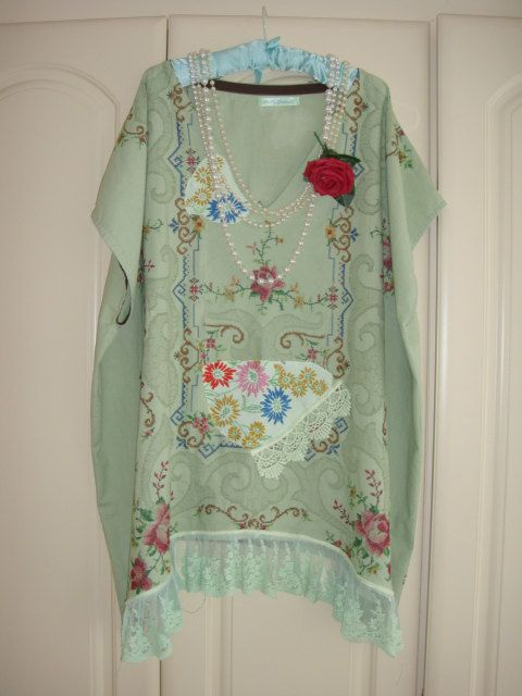 "Wonderful Sage Green Recycled Vintage Linen Tablecloth Caftan Tunic Deep V Embroidered Lace Plus Size Top Bust 66"" XXL"