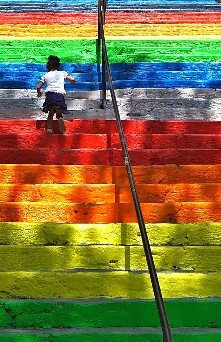 Rainbow steps in Turkey.